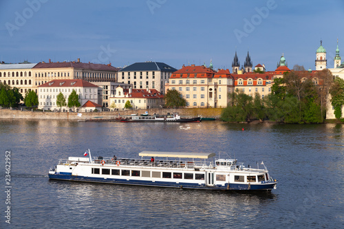 Passenger ship goes on Vltava river, Prague