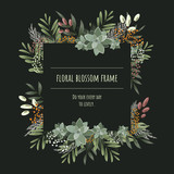 The square floral frame for invitation cards and graphics. © suphakit73