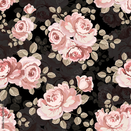 The vintage pink rose seamless textile.