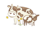 Cow with calf / Funny vector illustration, farm animals in the meadow