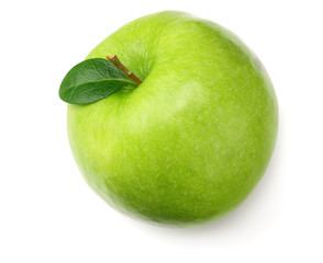 one green apple isolated on white background. top view
