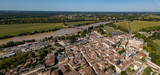 Aerial view, France, the renaissance castle, Cadillac in Gironde, filmed by drone
