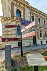 Sremski Karlovci, Serbia - May 2, 2018: Signpost in the Sremski Karlovci city, Serbia