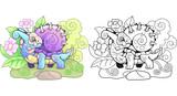 cartoon little cute snail dragon funny illustration