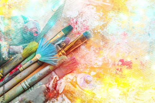 Row of artist paint brushes  on background - 234669909