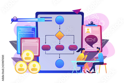 HR manager with employee at interview and business flow chart. Employee assessment software, HR company system, employee check programme concept. Bright vibrant violet vector isolated illustration