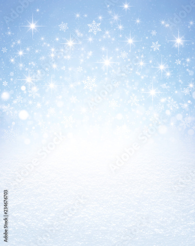 Snowflakes and stars on a winter snow covered ground - 234676703