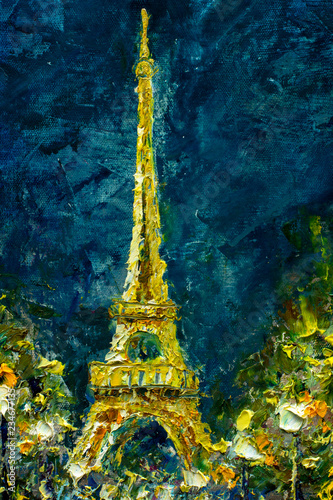 Oil Painting, Paris. European night city landscape. France, Wallpaper, eiffel tower. Night Modern art. Lanterns trees in the park