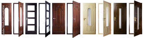 set collection of white open and closed doors with doorframe isolated on white background - 234683906