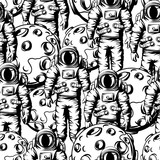 Seamless pattern of astronauts and moons.