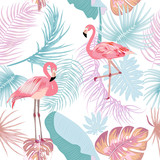 Seamless pattern of flamingo, leaves monstera. Tropical leaves of palm tree and flowers. - 234703371