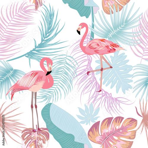 fototapeta na ścianę Seamless pattern of flamingo, leaves monstera. Tropical leaves of palm tree and flowers.