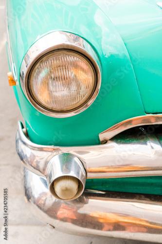 Closeup of classic vintage car in Old Havana, Cuba.