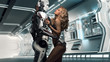 A beautiful blonde in black underwear standing with a male robot, virtual relationship with human and robots