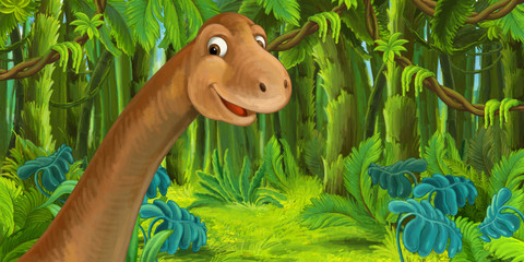 cartoon scene with happy dinosaur - diplodocus - illustration for children
