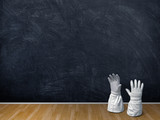 3d illustration rendering Astronaut gloves over blank blackboard and brown parquet - 234734349