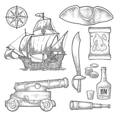 Set pirate adventure. Vector color vintage engraving