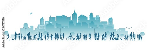 city and crowd of people vector illustration - 234737150