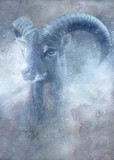 Mouflon ram in snow. Old master painting style. - 234738709
