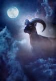 Mouflon ram at moonlight. Old master painting style. - 234738721