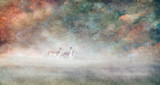 Fallow deer together in misty landscape. Old master painting style. - 234738735