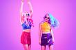 Leinwanddruck Bild - Fashion neon light. Party girl, Stylish hairstyle