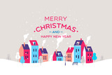 Merry Christmas and a Happy New Year greeting card. Winter town. Vector illustration. © faber14