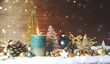 Leinwandbild Motiv Weihnachten Kerze türkis - Adventskerze Türkis Giltzer
