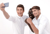 happy business colleagues taking selfies © FotolEdhar