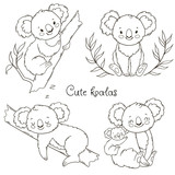 ПечатьSuper cute koala bears. Coloring book page for childrens. © Евгения Прусакова