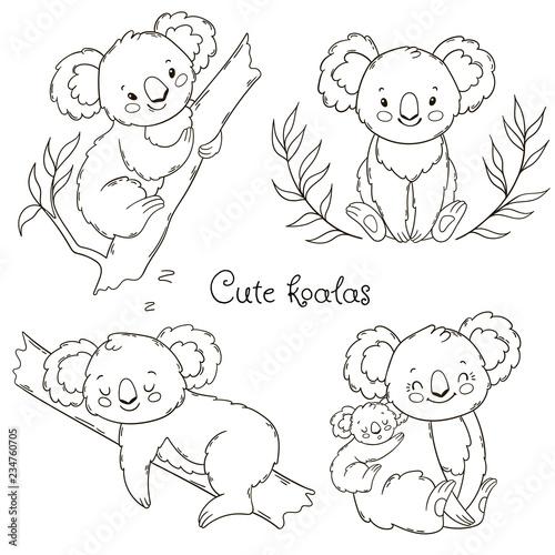 ПечатьSuper cute koala bears. Coloring book page for childrens.