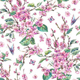 Watercolor spring vintage floral seamless pattern with pink blooming branches of cherry peach, pear, sakura - 234762943