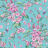 Watercolor spring vintage floral seamless pattern with pink blooming branches of cherry peach, pear, sakura - 234762958