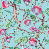 Watercolor summer vintage floral seamless pattern with branches of apple - 234763107