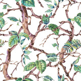 Watercolor flower vintage seamless pattern with branches and leaves - 234763157