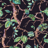 Watercolor flower vintage seamless pattern with branches and leaves - 234763194