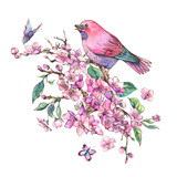 Watercolor floral spring greeting card, pink blooming branches of cherry peach, birds - 234763338
