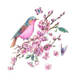 Watercolor floral spring greeting card, pink blooming branches of cherry peach, birds - 234763375