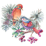 Christmas Vintage Floral Greeting Card, New Year Decoration with Bird, Pine Branches - 234763388