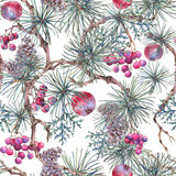 Christmas Vintage Floral Seamless Pattern, New Year Decoration - 234763968