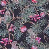 Christmas Vintage Floral Seamless Pattern, New Year Decoration - 234763989