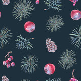 Christmas Vintage Floral Seamless Pattern, New Year Decoration with Apples - 234764123