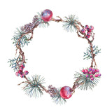 Christmas Vintage Floral Wreath, New Year Decoration with Apples, - 234764185