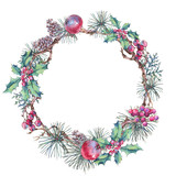 Christmas Vintage Floral Wreath, New Year Decoration with Apples, - 234764311
