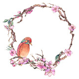 Watercolor spring greeting card, vintage floral round frame with blooming branches of cherry - 234764342