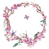 Watercolor spring greeting card, vintage floral round frame with blooming branches of cherry - 234764362
