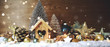 Leinwandbild Motiv Weihnachten Hintergrund Panorama - Winterlandschaft Vogelhaus Dekoration