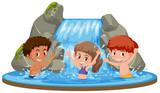 Happy kids at waterfall