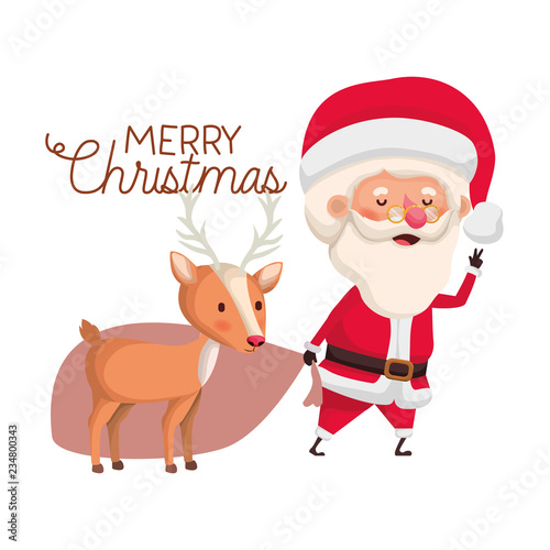 santa claus with reindeer and merry christmas avatar character