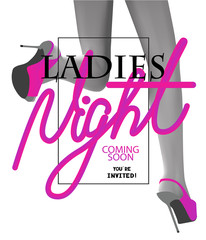 Ladies night party invitation card with pink volume letters and running woman legs. Vector illustration © unona613